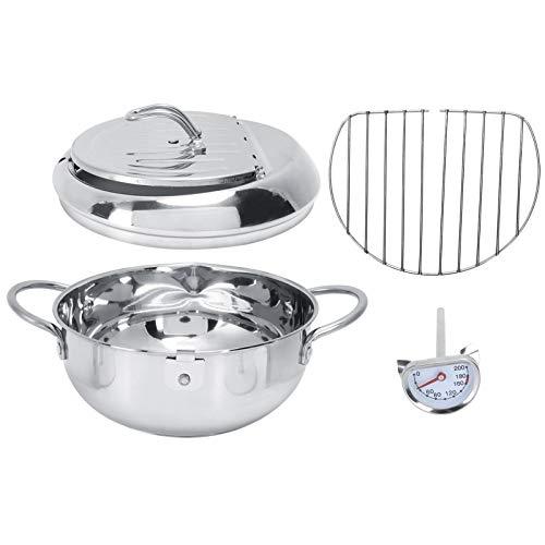banapo Freidora de Cocina, sartén Tempura sartén Profunda de Acero Inoxidable con termómetro de Aceite para Cocina para Restaurante(Oil Pan Small-2.2L (20CM))