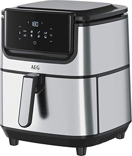 AEG AF6-1-6ST Freidora de Aire Sin Aceite 5.4 L, Pantalla LED display táctil, 8 Programas, Temporizador 60 min, Temperatura máxima 180º, Acero Inoxidable, Apto lavavajillas, Inox