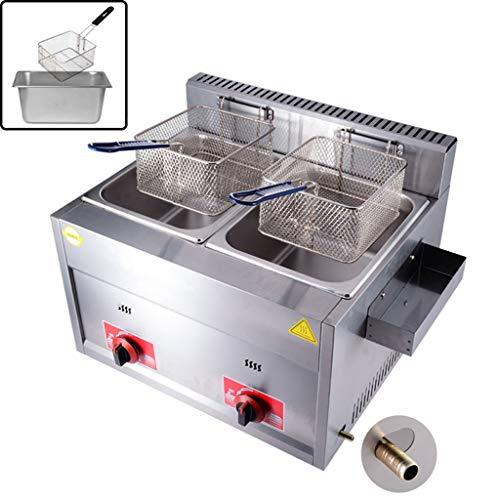 D@ Gas freidora de Gas multifunción de Doble Cilindro, regulable frying pan Comercial(Tapa Prueba Salpicaduras)